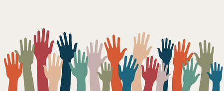 Group of raised human arms and hands. Concept of charity volunteer donation or assistance. Cooperation team of multiethnic volunteers. Community. Friendship. Background copy space Illustration