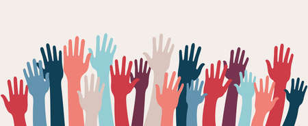 Group raised human arms and hands.Diversity multiethnic people. Racial equality. Men and women of different culture and countries. Coexistence harmony. Multicultural community integration