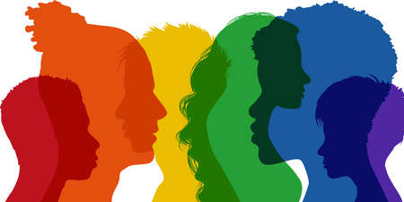 Banner silhouette group of adult people transgender men and women - homosexual - lesbian - gay - heterosexual with rainbow colors. Diversity people