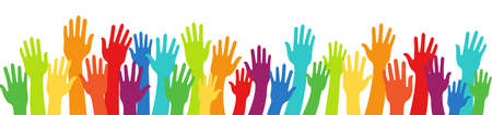 Group raised many human arms and hands. Diversity multiethnic people. Racial equality. Men and women of different culture and countries. Multicultural community integration. Rainbow colors