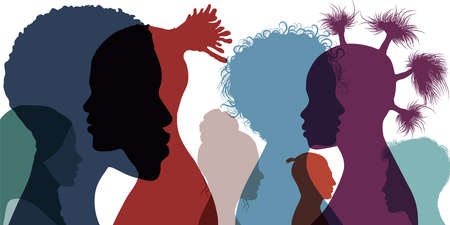 Silhouette profile group of men and women of diverse cultures. Cultural diversity. multi-ethnic and multiracial people. Racial equality and anti-racism. Multicultural society. Friendship