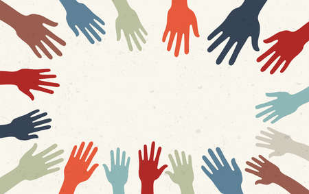 Group raised human arms and hands.Diversity multiethnic people. Racial equality. Men and women of different culture and countries. Coexistence harmony. Multicultural community. Copy space