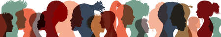 Silhouette profile group of men and women of diverse cultures. Diversity multi-ethnic people. Concept of racial equality and anti-racism. Multicultural and multiracial society. Friendship