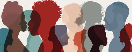 Group diversity people to the side. Attractive good-looking multicultural multi-ethnic men women and girls. Diverse people - Chinese-Arabic-Indian-Caucasian-Afro-American. Racial equality