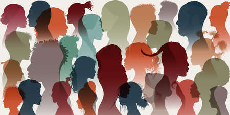 Crowd. Silhouette side group of men women girl of different cultures. Diversity multi-ethnic people. Racial equality and anti-racism. Multicultural and multiracial society. Allyship. Race Imagens - 159179495