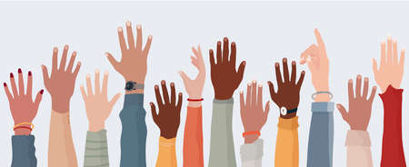 Anonymous arms and raised hands of multiethnic multicultural people. Crowd diversity people. Participation or election concept. Man and women of different races. Communication. Racial equality
