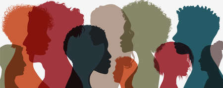 Silhouette of diversity people side. Group of multi-ethnic business co-workers and colleagues. Community of friends. Cooperation and collaboration. Teamwork partnership organization. Color