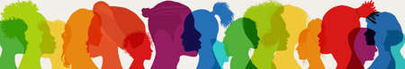 Diversity multiethnic people. Racial equality. Group side silhouette men and women of diverse culture and different countries. Coexistence harmony and multicultural community integration