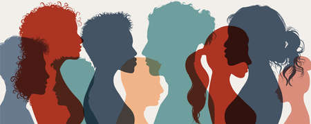 Group of confident multiethnic men and women people. Group of multicultural side silhouette person expressing confidence. Success and goals in business. Trust and partnership concept Stock Illustratie