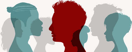 Influencer. Influencing a crowd of people.Persuasion propaganda and influence on the masses.Group human heads silhouette in profile.Recruit new members.Communication. Leader.Social media