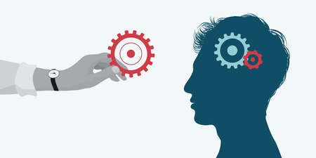 Concept acquire assistance. Learning course. Coach holding a gear in his hand and putting it in another man s brain as a teaching and education concept. Psychological therapy. Career Illustration