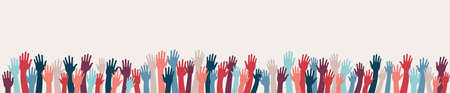 Group raised human arms and hands.Diversity multiethnic people.Racial equality.Men women children of diverse culture and countries.Multicultural community integration.Coexistence harmony Illustration