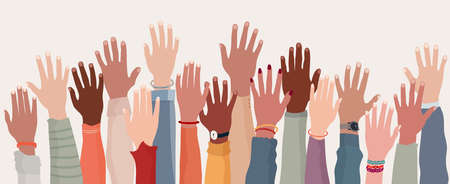 Group raised human arms and hands.Diversity multiethnic people. Racial equality. Men and women of different culture and nations. Coexistence harmony. Multicultural community integration