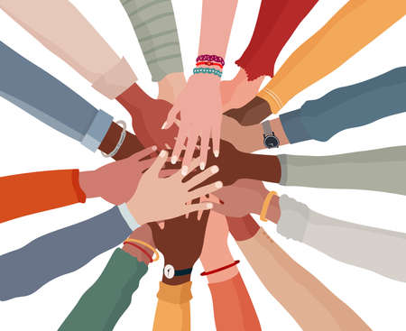 Group hands on top of each other of diverse multi-ethnic and multicultural people.Diversity people.Diverse culture.Racial equality.Concept of teamwork community and cooperation.Oneness