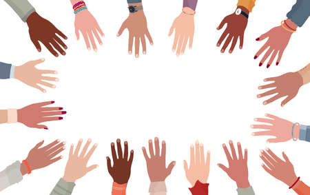 Racial equality. Group raised human arms and hands.Diversity multiethnic people. Men and women of different culture and nations. Multicultural community integration Coexistence harmony Imagens