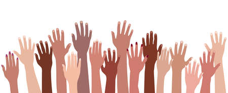 Racial equality. Group raised human arms and hands.Diversity multiethnic people. Men and women of different culture and nations. Multicultural community integration Coexistence harmony Illustration