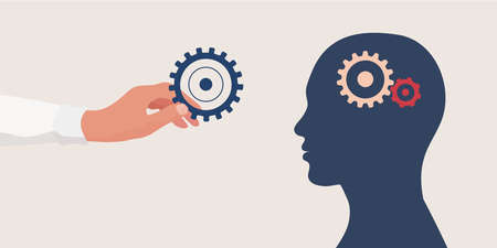 Mental health concept.Therapist or doctor hand holding a gear for as a symbol of mental care.Head with cogs.Psychology and psychiatry. Depression.Stress.Mind.Disease.Psychotherapy.Mood