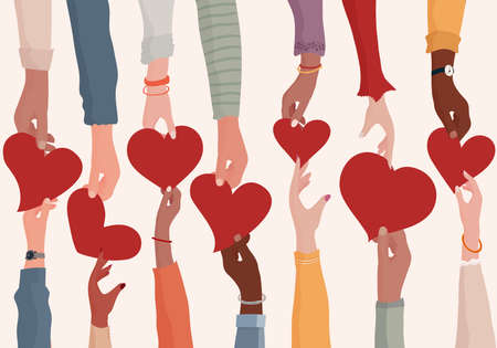 Concept of charity donation and help or social assistance. Voluntary hands that donate a heart to other hands as a metaphor for charity and contribution. Social work and voluntary work. Ngo
