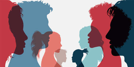 Diversity multi-ethnic and multiracial people. Silhouette group of men and women of diverse culture standing together in front of the other. Concept racial equality and anti-racism