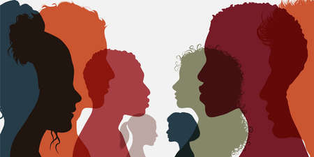 Silhouette group of men and women of diverse culture standing together in front of the other. Diversity multi-ethnic and multiracial people. Concept racial equality and anti-racism Çizim