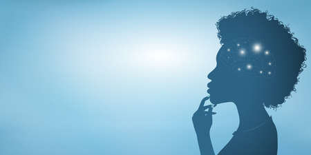 Thinking African American woman silhouette with glowing brain symbol and finger on chin. Concept of intelligence development strategy and solution of a thought. Blue banner copy space Stok Fotoğraf