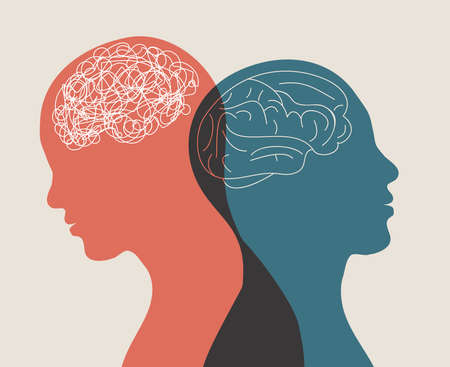 Metaphor bipolar disorder mind mental. Double face. Split personality. Concept mood disorder. 2 Head silhouette.Psychology. Mental health. Dual personality concept. Tangle and untangle Illustration