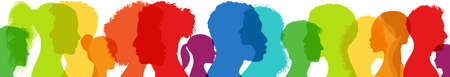 Diversity multiethnic people. Group side silhouette men and women of diverse culture and different countries. Racial equality. Coexistence harmony and multicultural community integration Illustration