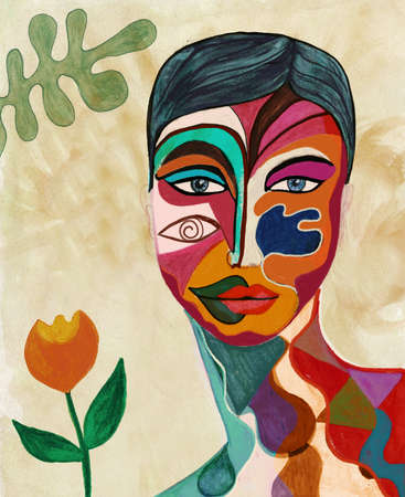 Poster with portrait of a painted face of a woman. Hand painted artistic and surreal abstract illustration. Hand draw. Colorful mosaic female woman face painted with watercolor crayons