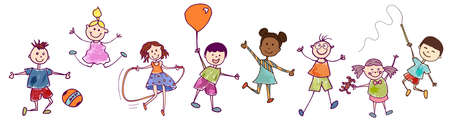Diversity group of happy sweet kids in action playing and jumping. Kindergarten. Preschool. Funny active and joyful smiling children with cute clothes. Stylized drawing. Vignetting ink
