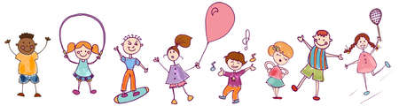 Diversity group of happy sweet kids in action playing and jumping. Kindergarten. Preschool. Funny active and joyful smiling children with cute clothes.Colorful cartoons.Stylized drawing