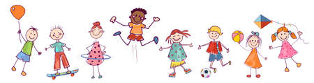 Diversity group of happy sweet kids in action playing and jumping. Kindergarten. Preschool. Funny active and joyful smiling multiethnic multicultural children. Stylized drawing. Cartoon Illustration