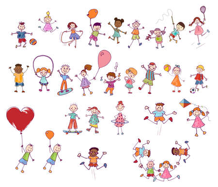 Cartoon set or collection of many multiethnic cute smiling children playing and jumping. Funny active and joyful kids. Diversity children. Kindergarten. Preschool. Stylized drawing. Comic