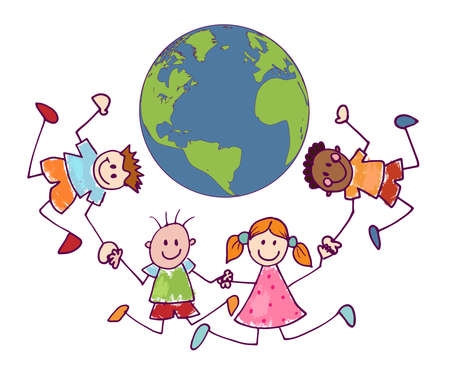 Cartoon of group multiethnic joyful and happy smiling children holding hands in a circle around the Earth. Cute kids in doodle style. Peace unity friendship. Environment and green planet