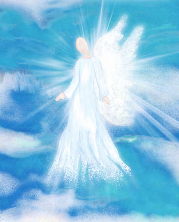 Archangel. Heavenly angelic spirit with wings. Hand draw Illustration abstract angel. Belief. Afterlife. Spiritual Angel. Sky clouds with bright light rays. Blessing. Inspiration. Faith