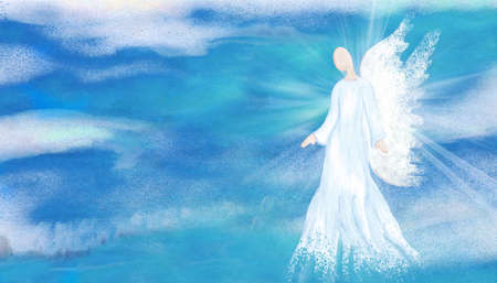 Archangel. Heavenly angelic spirit with wings. Hand draw Illustration abstract angel. Belief. Afterlife. Spiritual Angel. Sky clouds with bright light rays. Blessing. Inspiration. Banner Stock Photo