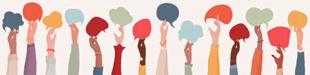 Group Raised arms of diversity multi-ethnic multicultural women holding speech bubble in hand. Diverse women talking chatting and sharing information on social networks. Racial equality 免版税图像