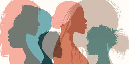 Silhouette profile group of men and women of diverse cultures. Diversity multi-ethnic and multiracial people. Concept of racial equality and anti-racism. Multicultural society. Friendship