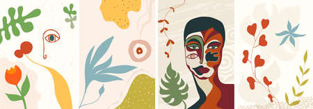 Abstract creative trendy set design template banner cover background with nature flowers and woman with face mask. For social media network stories-web internet - posts. Editable