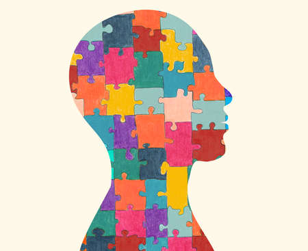 Autism syndrome concept. Jigsaw that forms human head in profile. Learning support and education. Neurological Disease. Mind and brain. Conceptual. Hand drawn puzzle