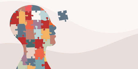 Banner. Autism syndrome concept. Jigsaw that forms human head in profile. Learning support and education. Neurological Disease. Mind and brain. Hand drawn puzzle