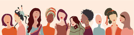 Communication group of multiethnic multicultural diversity women face. Female social network community of different cultures. Talk and share information. Friendship.Speak.Racial equality
