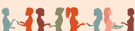 Silhouette group of multiethnic women who talk and share ideas and information. Businesswomen of different cultures social network community. Communication and friendship. Racial equality 矢量图像