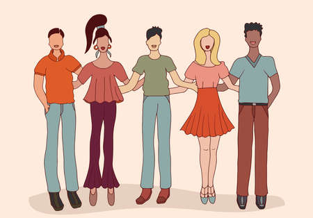Team group of multiethnic young people. Concept of solidarity and friendship. Social organization. Community. Collaboration assistance and cooperation.Racial equality.Cohesion. Humanity