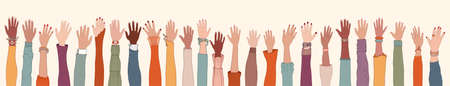 Group of many raised arms and hands.Diversity multiethnic people. Men and women of different cultures and nations. Racial equality. Coexistence harmony. Multicultural community integration