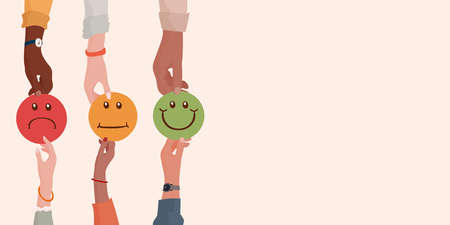 Customer service evaluation concept. Quality and service satisfaction. Hand giving another hand a smiley face with a dislike average and like rating.Satisfied metaphor.Rating. Feedback