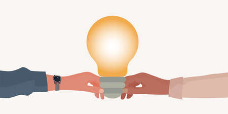 Metaphor. Hand holding a light bulb giving it to another hand. Teaching concept. Teacher coach mentor leader or instructor. Training course. Seminar or Conference. Learning. Workshop