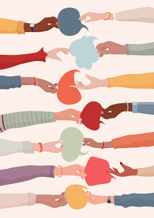 Arms and hands holding speech bubble. Agreement or affair between a group of colleagues or collaborators. Concept of sharing ideas. Community