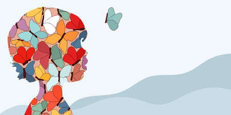 Autism syndrome concept. Puzzle of butterflies that forms a child's head in profile. Learning support and education. Neurological Disease. Mind and brain.Conceptual. Banner copy space
