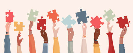 Autism syndrome concept. Group of raised arms of diverse people holding a jigsaw piece. Learning support and education. Neurological Disease. Mind and brain. Sharing. Conceptual Vektorgrafik