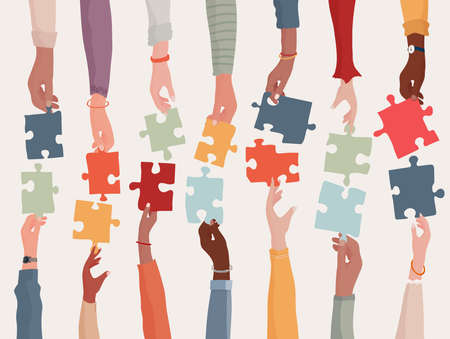 Agreement or affair between a group of colleagues or collaborators. Diversity people co-workers who collaborate. Arms and hands holding a jigsaw puzzle piece.Concept of sharing.Community 矢量图像